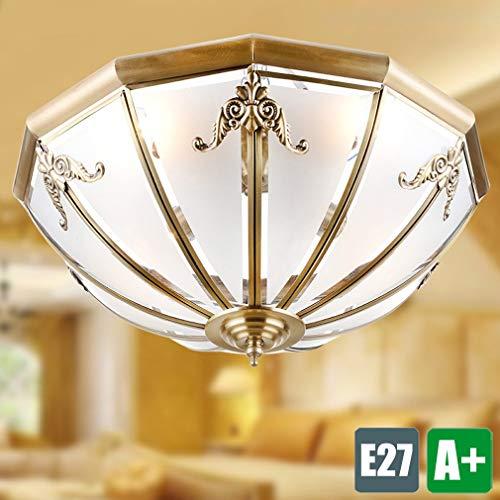 Rustikale Kupfer-log (ZHANG NAN ● Retro Deckenleuchte E27 Flurlampe Rustikale Kupfer Deckenleuchten 3 Lichter Balkon Licht Glas Lampenschirm Einfach Kreativ Einrichtungsbeleuchtung Glühbirne max. 40 W Retro a ●)