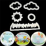 ODN 5tlg. Wiese Wolken Die Sonne Fondant Ausstecher Tortendeko Keks Sugarcraft Modellierwerkzeug