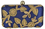 Parizaat By Shadab Khan Women's Clutch (Blue and Gold, bxc6426)