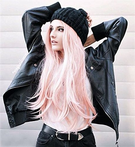 Sweet Candy Perücke von Vébonnie, pink, für Frauen, dunkel am Haaransatz, gewellt, 55,9 cm