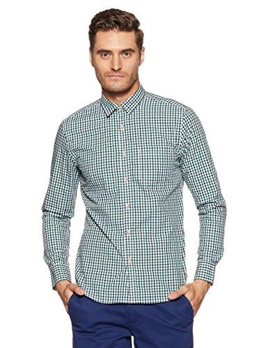 Amazon Brand- Symbol Men's Checkered Regular Fit Casual Shirt (SS18-SMCS-109_Green_Medium)