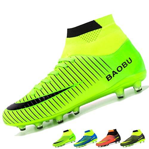 LANSEYAOJI Hombre Botas de Fútbol Niños AG Spike Profesionales Cesped Artificial Zapatos de fútbol Aire Libre Atletismo Zapatos de Entrenamiento Unisex Adultos Adolescent Ligero Tacos Futbol,EU33-45