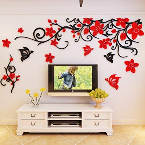 JTYQT Blume Kristall dreidimensionale Baum Wandaufkleber Acryl Sofa Wandaufkleber Dekor für Zuhause DIY selbstklebend abnehmbar