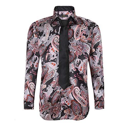 Robelli Herren Hemd & Krawatte Set aus langärmeligem Baumwoll-Satin Gr. XL, Gold Paisley No. 11