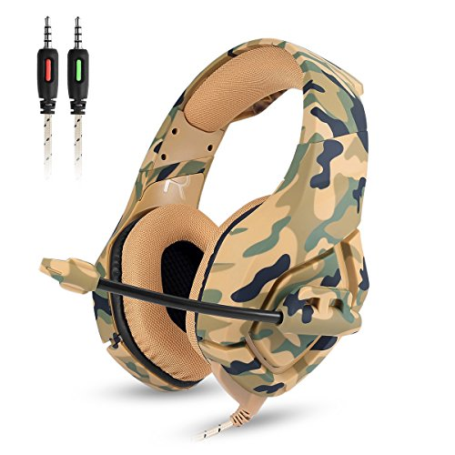 Gaming Kopfhörer - Onikuma K1-B 3,5mm über Ohr Stereo Kopfhörer Gaming mit Mikrofon Stumm In-line Noise Isolating Lautstärkeregler Headset für PS4 Xbox One PC Mac iPad Tablet Smartphone(Camo Grün) Sound Isolating Stereo-headset