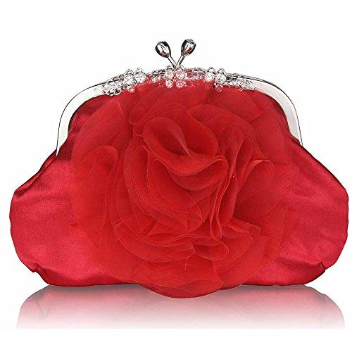 TrendStar Damen Satin Erhob Blume Kristall dekorativ Schön Partei Abend Kupplungs Taschen Rot 1