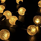 LEAZEAL Solar String Fairy Lights Globe String Festoon Party Lighting Warm White for Patio Christmas Wedding Bedroom (0.95inch)