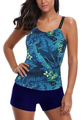 AYEABUY Frauen Plus Size Floral Halfter Tankini Set mit Boyshort zweiteiligen Badeanzug (EU ( 38-40 ), 4BlueHP) (Floral Anzug)