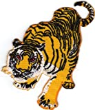Aufnäher Bügelbild Applikation Iron on Patches Tiger Pirsch Tier Zoo