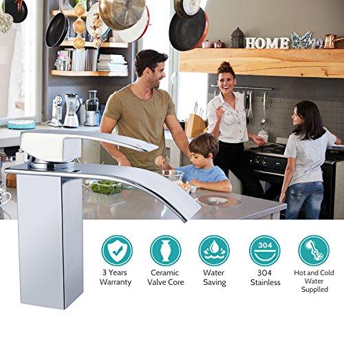 Chrom Wasserfall Wasserhahn, bedee Waschtisch Einhebelmischer Küche Bad Einhandarmatur, Heißes und Kaltes Wasser Verfügbar, Standard 3/8 Zoll Anschluss für Badezimmer