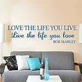 Amor la vida que vivir Bob Marley Saying Pared Vinilo Adhesivo Vida Letras frases palabras casa arte decoración
