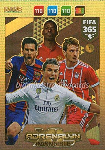 FIFA 365 2018 - INVINCIBLE CARD  1  RARE  MESSI  RONALDO etc PANINI ADRENAYLN XL