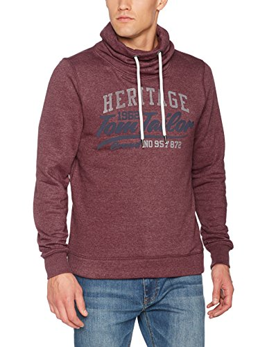TOM TAILOR Herren Sweatshirt Basic Sweater with high Collar, Rot (Deep Burgundy Red 4257), XXX-Large