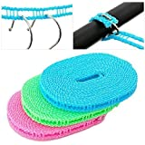ONEPEARL(LABEL)5 Meters Windproof Anti-Slip Clothes Washing Line Drying Nylon Rope with Hooks 5 Meter Nylon Clothesline Rope (Color May Vary)