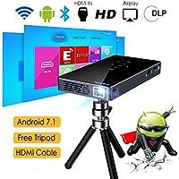 Proyector Android 7.1, 8GB DLP Proyector ExquizOn P8I, Video 1080P Full HD Mini Proyector Portátil Cine en Casa, Entrada de USB HDMI Tarjeta TF, Bluetooth WiFi 5000mAh Recargable Batería Incorporada para Uso al Aire Libre, Negro