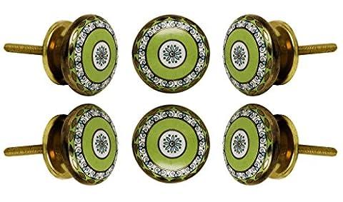 Set of 4 Ceramic Tessellate Cabinet Knobs Kitchen Cupboard Dresser Door Knob Wardrobe Drawer Pull By Trinca-Ferro