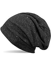 styleBREAKER klassische Beanie Mütze mit edler Strass-Nieten Applikation, Unisex 04024037