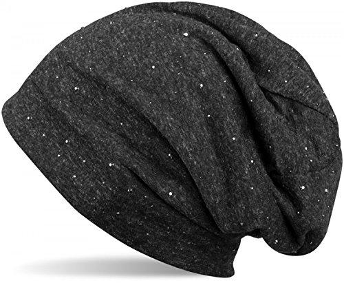 styleBREAKER klassische Beanie Mütze mit edler Strass-Nieten Applikation, Unisex 04024037, Farbe:Schwarz meliert / used Look