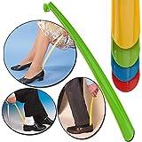 iDealhere Plastic Extra Long Handled Shoe Horn Shoe Lifter Durable Tool Random Color 58cm