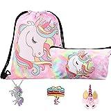 RHCPFOVR Unicorno Regali per Ragazze 5 Pack - Zaino Con un Cordoncino Per Unicorno/Borsa per Trucco/Bracciale/Collana Pendente Per Unicorno/Corda per Capelli Unicorno