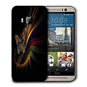 Snoogg Multicolor Butterfly Printed Protective Phone Back Case Cover For HTC One M9