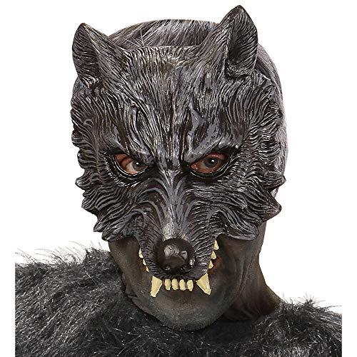 Werwolf Maske Für Erwachsene (Widmann 00456 Kinnlose Schaumlatexmaske Wolf, Schwarz)