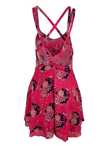 Futurino Femmes Floral Imprimé Strap Crossed Back A-line Mini Dress red