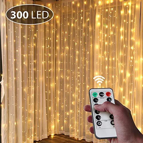 Ghirlanda luminosa a led per interni, 3 m x 3 m, usb, in rame, 300 led, impermeabile, con telecomando, 8 programmi, per illuminazione interna, matrimonio, festa