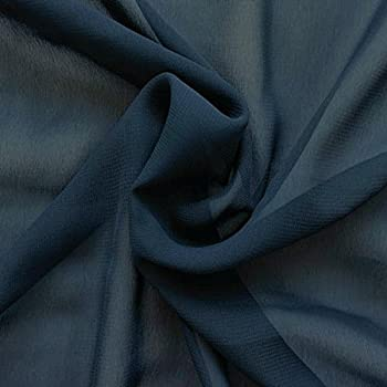 STOFFKONTOR Polyester Chiffon Stoff Meterware Dunkel-Blau