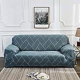 Nannan Moderne bedruckbare Stretch waschbare Sofabezug Staubdichte Möbelschutz Schonbezug Sessel Wohnzimmer Couchbezug-See blau_2-Sitzer 145-185 cm