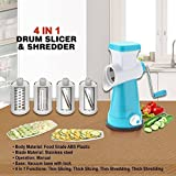 HKC HOUSE 4 In 1 Vegetable Grater Mandoline Slicer, Rotary Drum Fruit Cutter Cheese Shredder Thick And Thin Slicer And First Time In India With French Fries Cutter With 4 Stainless Steel Rotary Blades(1 Unit 1 Drum With Interchangeable Blades ) …