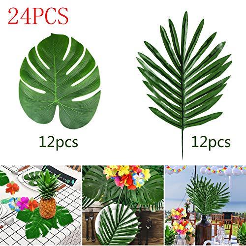 Kuuqa 24 STÜCKE Tropische Palmblätter Luau Party Dekoration Tropische Fensterblätter Pflanzenblätter für Hawaiian Safari Dschungel Beach Theme BBQ Partydekorationen Liefert (2 Stile)