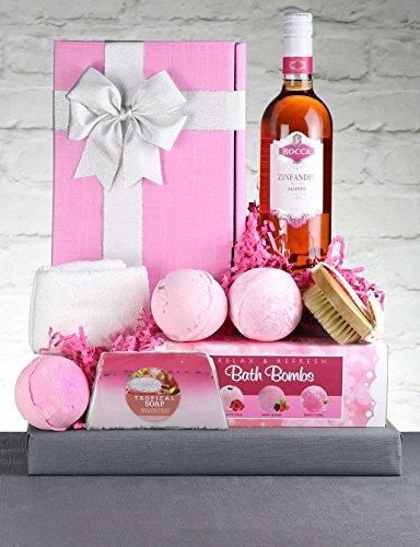 Rose Wine Gift Hamper - Zinfully Pink. Italian Blush Ros� Wine & Pink Spa Treats