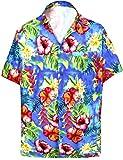 LA LEELA Collare Diffusione degli Uomini Camicia Hawaiana Floreali Blu_6032 M - Torace (in CMS) : 101-111