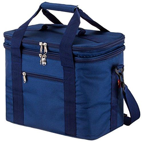 Damen Doppel Wrap (Msicyness Extra Große Lunch Tasche für Erwachsene Doppel-Schicht Fach Kühler Taschen mit Internen Geschirr Placement Gerät Set Isoliert Kühler Box für Damen und Herren 17.8L Blau)