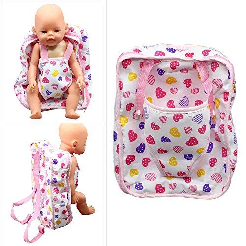 sgerste pflegend Puppe Rucksack Carrier Herz Muster Puppe Zubehör Aufbewahrungstasche für 45,7cm Puppen (Carrier-aufbewahrungstasche)