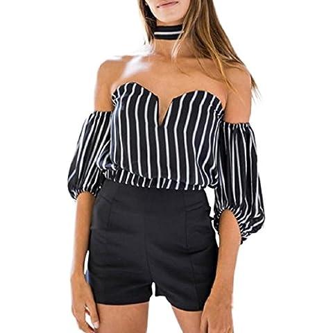 Culater® mujeres Atractiva de la manera rayada del hombro de manga larga Tops (S, Blanco)