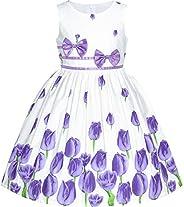 Sunny Fashion Vestito Bambina Viola Rosa Fiore Doppio Cravatta a Farfalla Festa Bambini Sole 4-12 Anni