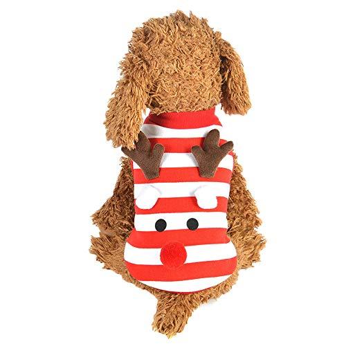 (Amphia Haustier Kostüm - Kleidung für Haustiere,Weihnachten Haustier Hund Welpen Weste gestreiften Stil warme Kleidung Elch Dress Up Xmas Weste(Rot,S))