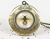 Colgante de abeja de miel con colgante vintage de camafeo con foto de deseo, collar con colgante de árbol de la vida, joyería de la naturaleza, joyería de bosque y abeja