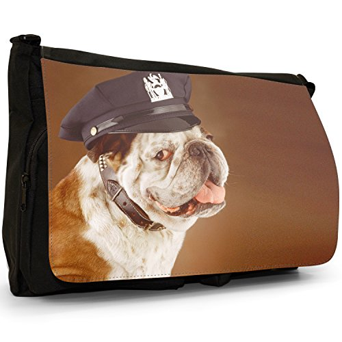 Fancy A Bag Borsa Messenger nero Bull Dog Sitting Bull Dog In Police Hat