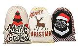 3 pcs Noël Sac de toile de sac de Père Noël pour les cadeaux Santa sac avec cordon Grande taille 70 x 50 cm motif 1 (Modèle 7)