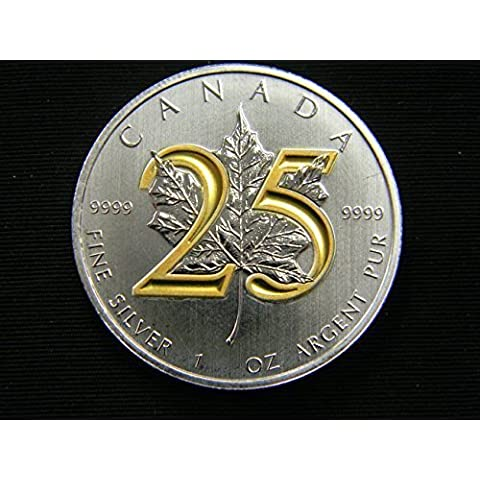 25th Anniversary 2013 Maple Coin .9999 1 oz Ounce Silver 24K Gold Gilded Leaf by Royal Canadian Mint