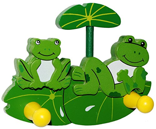 1 Stück - 3-D Garderobenhaken Holz - Tiere - Frosch  Maus  Marienkäfer  Bär - Kinder 2 Haken Kinderzimmer Kleiderhaken  Garderobenleiste Wandhaken Garderobe Garderobehaken