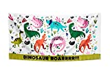 Todd Linens Kid's Beach Towel Plush, Ultra Soft, Super Absorbent Cotton | Large 75 x 150 CM Cotton | Bright, Colourful, Outdoor Use | Boys and Girls (Dino Roar)