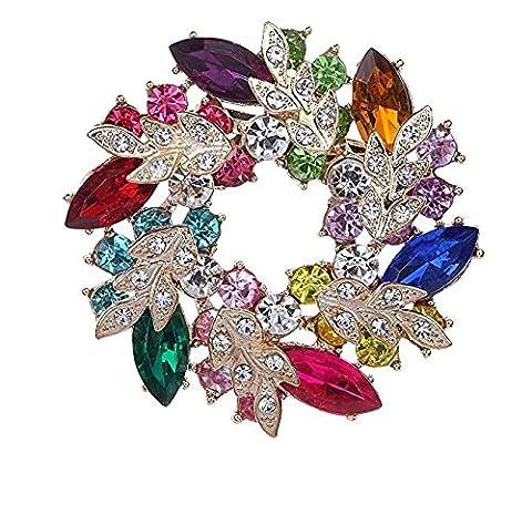 Tfxwerws Mode Cristal coloré Plaqué or Bouquet de fleurs Broche pour femme