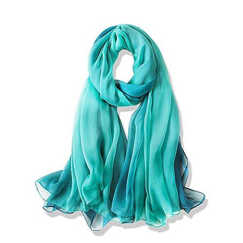 Yfzyt donne lungo moda morbida sciarpa dell'involucro signore sunscreen voile sciarpa sheer per abiti da sera, matrimoni, feste, spiaggia - gradiente di colore#2