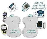 Gold Hand 12 Elettrodi per Elettrostimolatore Tens EMS Clip, Auto-adesive, Riutilizzabili, 5cm x 8cm Gel Ipoallergenico. Idrogel di Alta qualità