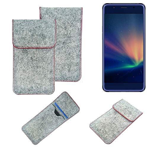 K-S-Trade® Filz Schutz Hülle Für -Hisense A2 Pro- Schutzhülle Filztasche Pouch Tasche Case Sleeve Handyhülle Filzhülle Hellgrau Roter Rand
