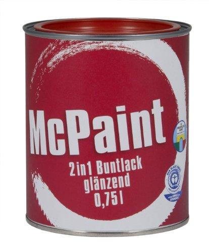 McPaint 2in1 Buntlack Grundierung und Lack in einem für Innen und Außen. PU verstärkt - speziell für Möbel und Kinderspielzeug glänzend Farbton: RAL 3000 Feurrot 0,75 Liter